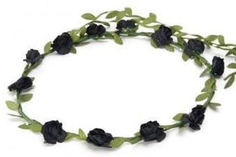 BFD One boho floral head garland flower headband floral headdress wedding festival (Black flowers))