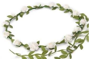 BFD One boho floral head garland flower headband floral headdress wedding festival (white flowers)