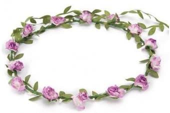BFD One boho floral head garland flower headband floral headdress wedding festival (lilac flowers)