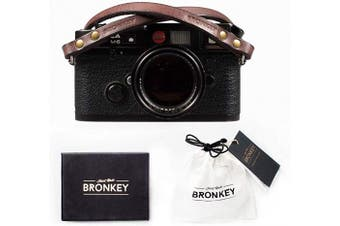 Bronkey Berlin 102 (95 cm) - Brown Leather Camera Shoulder Neck Strap Universal rings connexion for Sony, Fuji, Leica, Pentax, Etc.