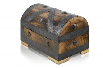 (Medium 24x16x16cm) - Brynnberg - Pirate Treasure Chest Storage Box - Durable Wood & Metal Construction - Unique, Handmade Vintage Design - Striking Decorative Element - The Best Gift (Medium 24x16x16cm)