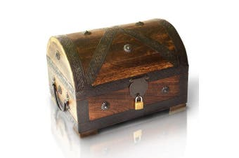 (Large With Lock 28x20x20cm) - Brynnberg Pirate Treasure Chest Storage Box - Durable Wood & Metal Construction - Unique, Handmade Vintage Design With A Front Lock Padlock- Striking Decorative Element - Gift (11x 20cm x 8inch)