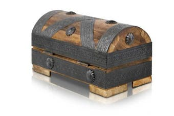 (Small With Lock 20x11x11 Cm) - Brynnberg - Pirate Treasure Chest Storage Box - Durable Wood & Metal Construction - Unique, Handmade Vintage Design With A Front Lock - Striking Decorative Element - The Best Gift (small with lock 20x11x11cm)