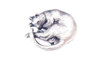 Sleeping Cat Handcrafted in English Pewter Lapel Pin Badge + 59mm Badge + Gift Bag