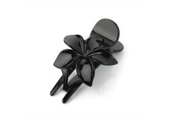 (Black) - FLOWER DESIGN HAIR CLIP CLAW TORTOISESHELL OR BLACK