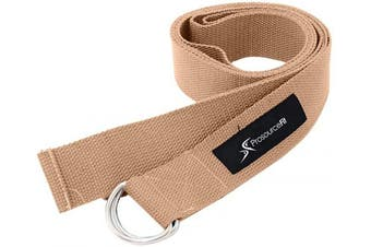 (Beige) - ProSource Metal D-Ring Yoga Strap 2.4m Durable Cotton for Stretching and Flexibility