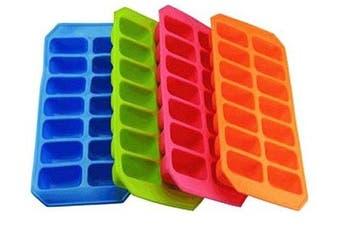 (Plastic Body) - Splash Soft Ice Cube Tray x 4 Colourful Silicon Ice Cube Trays