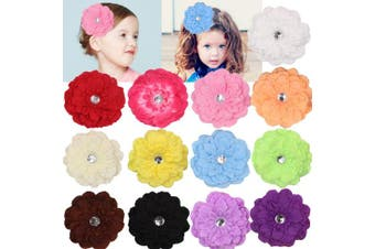 (Large) - Mix Colours 10cm Calendula Hair Daisy Flower Clip Baby Girl Chiffon Flowers Lined Hair Bows Alligator Clips for Teens Girls Toddlers Wedding Decroation