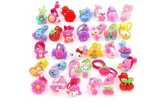 AUCH 24Pcs Cute Cartoon Baby Girls Kids Children Little Princess Ball Hair Tie Bands Ropes Ponytail Holder Elastics, Assorted Colour, May Vary form Picture, No Repeated Styles