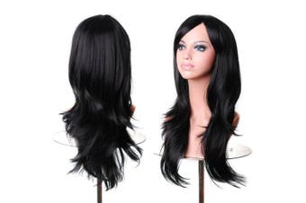 (Black) - AneShe Wigs 70cm Long Wavy Hair Heat Resistant Cosplay Wig for Women (Black)