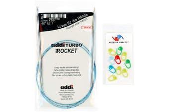 (Size-US-03-(3.25mm)) - addi Knitting Needle Circular Turbo Rocket Lace White-Bronze Skacel Exclusive Blue Cord 16 inch (40cm) Size US 03 (3.25mm) Bundle with 10 Artsiga Crafts Stitch Markers