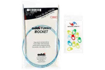 (Size-US-06-(4.00mm)) - addi Knitting Needle Circular Turbo Rocket Lace White-Bronze Skacel Exclusive Blue Cord 16 inch (40cm) Size US 06 (4.0mm) Bundle with 10 Artsiga Crafts Stitch Markers