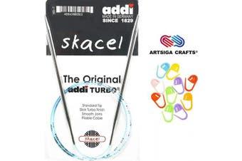 (Size-US-50-(25.00mm)) - addi Knitting Needles Circular Original Plastic 60 inch (150cm) US 50 (25.0mm) Bundle with 10 Artsiga Crafts Stitch Markers