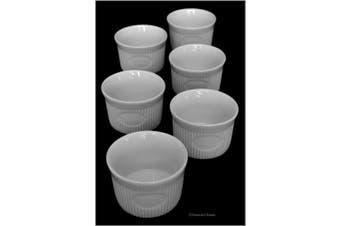 Set 6 White Porcelain 70ml Individual Label Dessert Oven Safe Ramekin Dishes