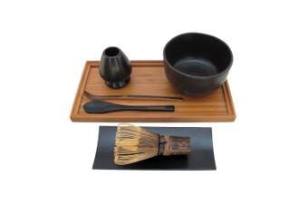 (Black) - BambooMN Brand - Matcha Bowl Set (Includes Bowl, Rest,Tea Whisk, Black Chasaku, Black Tea Spoon, Rest Tray & Tray) - Black