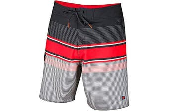 (Size 40, Black/Red) - Cova Men's Tidal High Performance Board Shorts