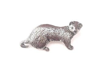 Emblems-Gifts Ferret Finely Handcrafted in Solid Pewter In UK Lapel Pin Badge + 59mm Button Badge + Gift Bag