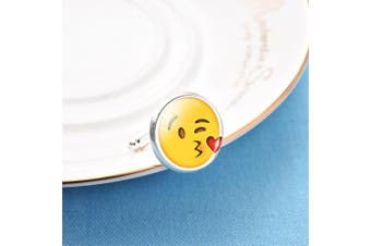 (Love Kiss) - EMOJI SINGLE (Buy 2 For A Pair) SOLD INDIVIDUALLY Cufflink Make Your Own Pair Of Emojis Jewellery Novelty Gift Idea Choose Different One For Each Hand Happy/Angry Smiley Face Cufflinks