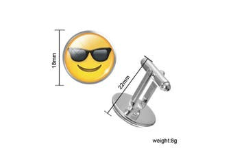 (Cool Sunglasses) - EMOJI SINGLE (Buy 2 For A Pair) SOLD INDIVIDUALLY Cufflink Make Your Own Pair Of Emojis Jewellery Novelty Gift Idea Choose Different One For Each Hand Happy/Angry Smiley Face Cufflinks