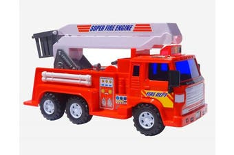 (Fire Truck) - Big-Daddy Mediun Duty Friction Powered Fire truck With Extendable Ladder