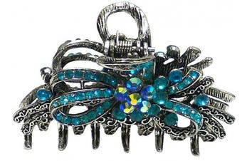 Metal Crystal Jaw Clip with A Ribbon Bow Design in Antique Silver Tone Plating RW86410-6207aqua blue