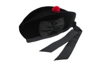 (7 ( UK 56 )) - New Glengarry plain Black Wool Scottish Bagpipe /Kilt Hat (7 ( UK 56 ))