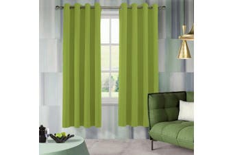 (W52 x L84, Greenery) - Aquazolax Bedroom Blackout Window Curtain Panels Blackout Curtains 130cm x 210cm Thermal Insulated Eyelets Window Treatment for Kitchen, 2 Panels, Greenery