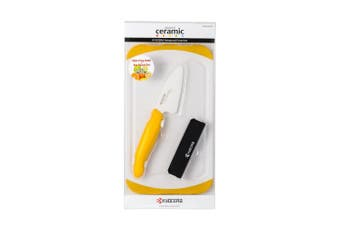 (Yellow) - Kyocera Advanced Ceramic Mini 7.6cm Prep Knife, Bar Board and Knife Sheath Set, Yellow