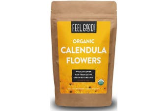 Organic Calendula Flowers - Whole - 470ml Resealable Bag (0.5kg) - 100% Raw From Egypt - by Feel Good Organics