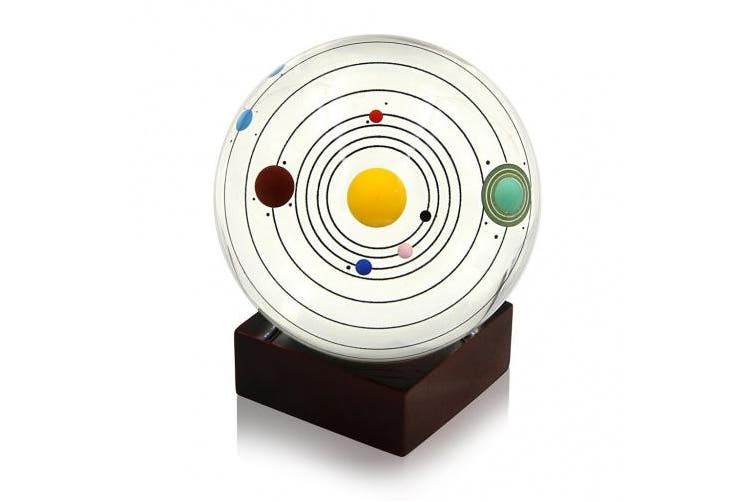 (Wooden Stand) - Sumnacon Clear Crystal Ball Sphere 80mm / 3 inch , Solar System Crystal Ball with Wood Stand, Planet Balls for Astronomer, Lover of Space, Kids and Student