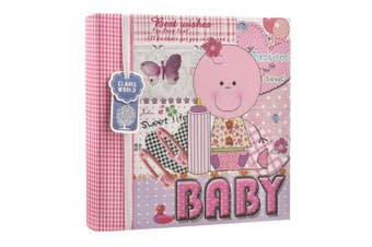 (PINK) - Arpan Baby Girl Pink Memo Slip In Photo Album 200 15cm x 10cm Photos Ideal Gift (PINK)