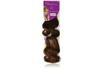 Chear Body Wave 2-in-1 Weft Human Hair Extension with Premium Blend Weave Number P4/30, Medium Dark Brown/Auburn 8-Inch