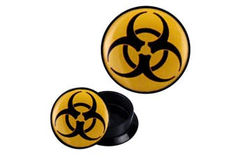 (20 mm) - Screw Plug acrylic yellow biohazard black Expander Piercing Earrings
