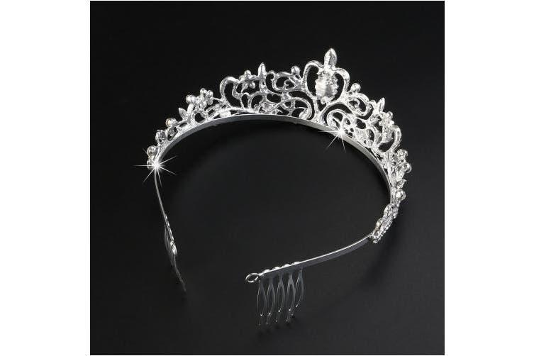 Tinksky Princess Tiara with Comb Shining Crystal Rhinestones Wedding Bridal Tiara Headband (Silver)