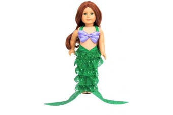 (Green) - Mermaid Outfit | Fits 46cm American Girl Dolls, Madame Alexander, Our Generation, etc. | 46cm Doll Clothes