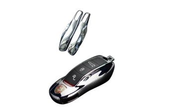 (Chorme Silver) - carmonmon Smart Protectors Keyless Remote Key Cases Shell Car Key Case Platic Cover Case Cover Side Blades for Porsche Cayenne Panamera(Chorme Silver)