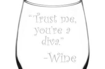 (Drunk Wine Talk Truth, Diva) - (Trust Me, You're A Diva) Drunk Wine Talk Truth Inspired - Laser Engraved 380ml Libbey All-Purpose Wine Taster Glass