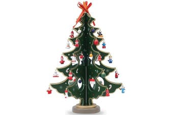 32cm Wooden Tabletop Christmas Tree with Miniature Christmas Ornaments