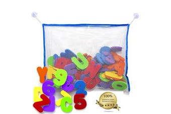 36 Piece Set Foam Bath Alphabet Letters and Numbers 0 - 9 , with Mesh Bag Bath Toy Organiser. The Best Educational Bath Toys. Non Toxic EVA Foam. Bath Time Fun