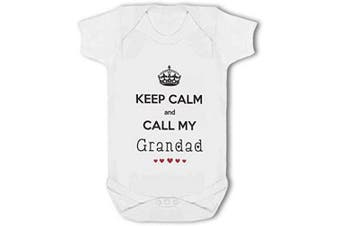 (3-6 Months) - Keep Calm and Call My Grandad with Cute Hearts - Baby Vest - 3-6 Months