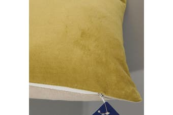 "(30cm(30.5cm) X 50cm, 12""X20"", Velvet Linen Yellow Ochre) - Aitliving Soft Solid Cotton Velvet and Cotton Linen Reverse Cushion Cover 1PC Ochre Yellow Cushion Cover 12x20 inches(30.5x50cm)"