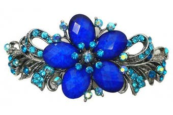 Gorgeous Barrette with Beads and Crystals U86012-0052sapphire