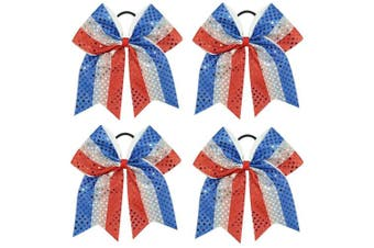 (4pcs Sequin Bow) - CN Sequin Cheerleader Bow Large Patriotic Hair Bows Attached Baby Girls Elastic Headband for Cheerleading Girls