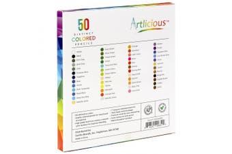 (50 Series) - Artlicious - 50 Premium Distinct Coloured Pencils for Adult Colouring Books - Bonus Sharpener - Colour Names on Pencils