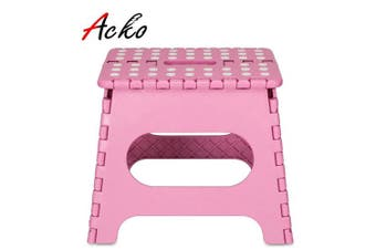 (Pink) - ACSTEP Acko 23cm Folding Step Stool - The Lightweight Step Stool is Sturdy and Safe Enough for Kids. Opens Easy with One Flip. Great for Kitchen, Bathroom, Bedroom Pink