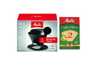 (Black) - Melitta Pour Over Coffee Cone Brewer & #2 Filter Natural Brown Combo Set, Black