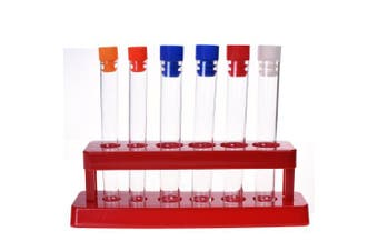 BCP Set of 6 Assorted Colour Plastic Test Tube Set with Caps and Rack Scientific Experiment Toys for Children