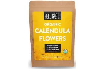 Organic Calendula Flowers - Whole - 120ml Resealable Bag - 100% Raw From Egypt - by Feel Good Organics