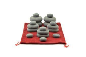 MassageMaster HOT STONE MASSAGE SET: 18 Basalt Stones in Drawstring Bag