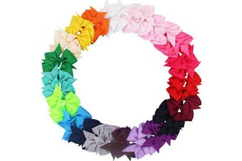 (40pcs(20 Pair pure color)) - 40pcs 8.9cm Pinwheel Bow Grosgrain Ribbon Hair Bows Clips for Baby Girls Toddlers Kids in Pairs
